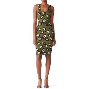 John + Jenn Olive Green Fitted Ocelot Print Dress